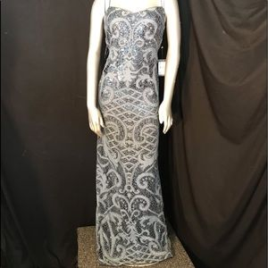 Adrianna Papell Full Length Blue Sequin Lace Gown